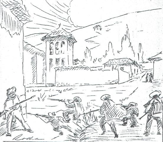Balacera en la Plaza de Celendín, comienzos del s. XX. Lapiz de Alfredo Rocha Zegarra.